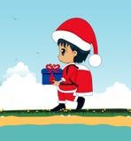 作为圣诞老人的孩子 免版税图库摄影
