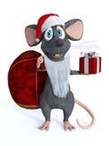 作为圣诞老人穿戴的微笑的动画片老鼠 免版税库存照片