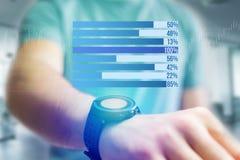 作为在一个未来派接口的图表被显示的企业stats - Bu 免版税图库摄影