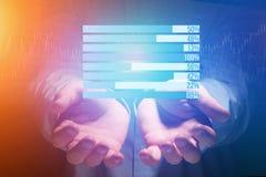 作为在一个未来派接口的图表被显示的企业stats - Bu 库存照片