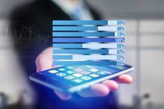 作为在一个未来派接口的图表被显示的企业stats - Bu 库存图片