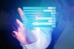 作为在一个未来派接口的图表被显示的企业stats - Bu 图库摄影
