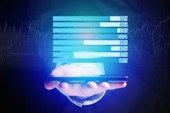 作为在一个未来派接口的图表被显示的企业stats - Bu 免版税库存照片