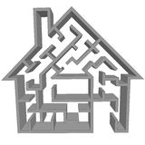 作为在家觅房行动迷宫难题符号 免版税库存照片