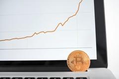 作为在有财政图的银色膝上型计算机安置的主要cryptocurrencies的金黄bitcoin在背景的屏幕上 库存照片