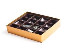 作为在组织者里面的配件箱巧克力 库存图片