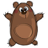 作为天真儿童画的动画片棕色逗人喜爱的北美灰熊 免版税库存照片