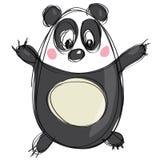 作为天真儿童画的动画片黑白逗人喜爱的熊猫 免版税库存图片