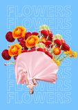 作为套的端庄的妇女充满花、异常的花束或者礼物概念 现代的设计 当代艺术拼贴画 库存照片
