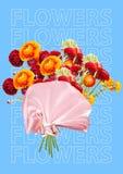 作为套的端庄的妇女充满花、异常的花束或者礼物概念 现代的设计 当代艺术拼贴画 向量例证