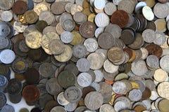 作为好的背景的老欧洲硬币 免版税库存图片