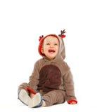 作为小克劳斯穿戴了驯鹿s圣诞老人 免版税库存照片