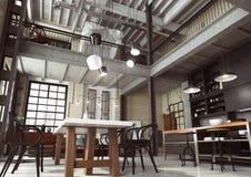 作为开放学制公寓被设计的现代顶楼 库存图片
