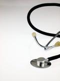 作为往白色的背景空白底层复制末端重点图象医疗锋利的更软的空间听诊器适当的顶层 库存图片