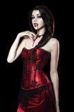 作为性感的吸血鬼的美丽的少妇 免版税库存图片