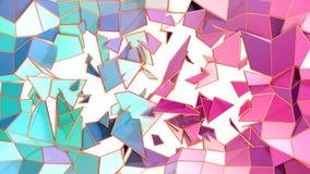 作为意想不到的安心的抽象简单的蓝色桃红色低多3D分裂表面 软的低多行动背景转移 库存例证