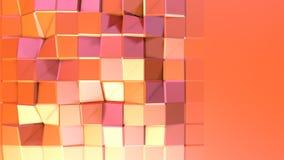 作为意想不到的安心的简单的低多3D表面 转移纯净的桃红色桔子软的几何低多行动背景  皇族释放例证