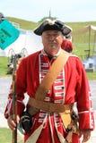 作为战士打扮的更老的绅士,在示范期间,堡垒Ticonderoga,纽约, 2016年 库存图片