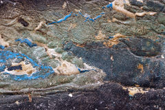 作为抽象脏的织地不很细backgroun的五颜六色的被撕毁的老海报 库存图片