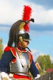 作为拿破仑式的战争战士穿戴的一勇敢的reenactor的画象 免版税库存照片