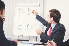作为指向在图表的会议领导的年轻商人 库存照片
