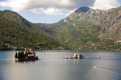 作为教会djordje gospa已知的夫人的alo留给montenegro早晨od我们的perast权利岩石skrpjela sv查阅 Perast,黑山 Perast, Monte 图库摄影