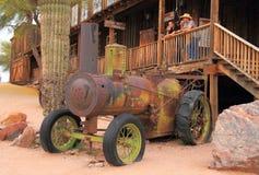 作为旅游胜地的古色古香的蒸汽拖拉机 免版税库存图片