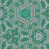 作为无限绿色玻璃样式的抽象万花筒背景 向量例证