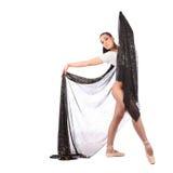 作为有美丽的面纱的一位芭蕾舞女演员打扮的女孩舞蹈家 库存照片