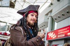 作为杰克Sparrow上尉的Cosplay 图库摄影