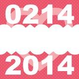 作为桃红色例证的情人节0214和2014 库存照片