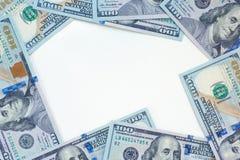 作为框架的美元与白色中心 免版税库存照片