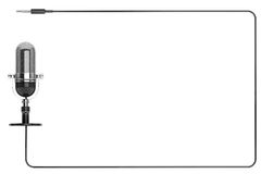 作为框架的葡萄酒银色话筒与文本的空间 库存图片