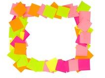 作为框架被安排的便条纸 库存图片