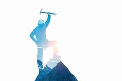 作为概念的登山体育 混合画法 库存照片