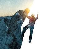 作为概念的登山体育 混合画法 免版税库存照片