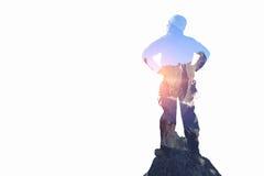 作为概念的登山体育 混合画法 免版税库存图片