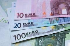 作为欧洲背景的钞票 欧洲金钱关闭 免版税库存照片