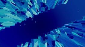 作为水晶滤网的蓝色低多塑料表面 蓝色多角形几何塑料环境或搏动的背景  向量例证
