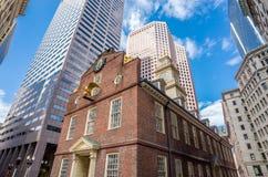 1713作为波士顿大厦现在建立了历史记录房子马萨诸塞博物馆老最旧公共服务状态生存 库存图片