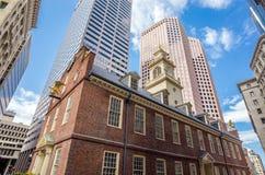1713作为波士顿大厦现在建立了历史记录房子马萨诸塞博物馆老最旧公共服务状态生存 免版税库存照片