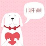 作为滑稽的狗的逗人喜爱的减速火箭的手拉的华伦泰` s天卡片与心脏和讲话起泡 免版税库存图片