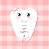 作为牙滑稽的微笑的漫画人物的逗人喜爱的贺卡愉快的牙医天  库存图片