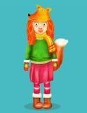 作为狐狸打扮的一个逗人喜爱的愉快的矮小的年轻美丽的女孩的传染媒介例证 库存照片