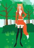 作为狐狸打扮的女孩 库存图片
