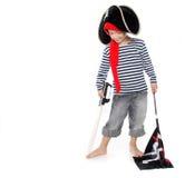 作为男孩穿戴的海盗纵向年轻人 免版税库存照片