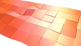 作为简单的背景的抽象简单的桃红色橙色低多3D表面 软的几何低多行动背景  皇族释放例证