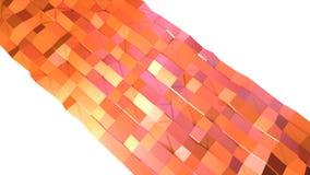 作为简单的背景的简单的低多3D表面 转移纯净的桃红色桔子软的几何低多行动背景  库存例证