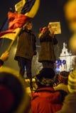 作为罗马尼亚的人抗议放松腐败法律 库存图片