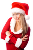 作为美丽的确信的加工好的女孩圣诞老人 免版税图库摄影